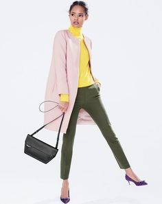 J.Crew women's double-cloth collarless coat, turtleneck sweater, Martie pant in bi-stretch, Bennett crossbody bag and Dulci jacquard kitten heels.