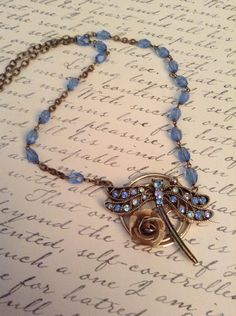 Upcycled Vintage Dragonfly Rosary Assemblage Necklace, OOAK, Repurposed on Etsy, $36.00