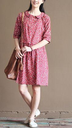 pink retro fit flare dresses summer cotton dress plus size sundresses