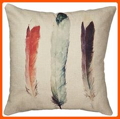 "Decorbox Cotton Linen Decorative Throw Pillow Case Cushion Cover (Feathers) 18 ""X18"" - Fun stuff and gift ideas (*Amazon Partner-Link)"