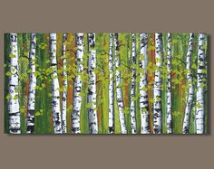 TITLE: Green Leaves This is an original abstract painting hand painted by the artist. DESCRIPTION: This painting was inspired by my continued love of birch trees. The background is my interpretation of the forest in the distance beyond the grove of birch. Tree trunks are