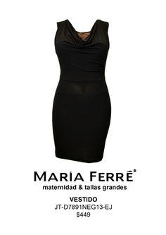 VESTIDO TALLA EXTRA, NEGRO, EXTRA SIZE DRESS, BLACK. MODA. MARÍA FERRÉ