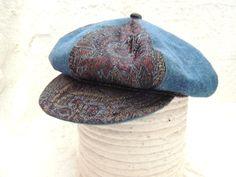 Vintage Liz Claiborne Newsboy Hat Cap Denim by PurveyorsOfFineJunk