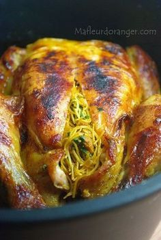 Poulet farci et cuit au four