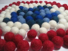 50 felt wool balls (1/2 in. size) patriotic mix color American British flag: red blue white on Etsy, $12.00