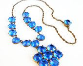 Art Deco Necklace Royal Blue Crystal Open Back Gold Wash Nickel Silver Antique Jewelry