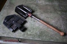 WH folding shovel model 38, incl. leather carrier