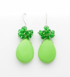 Lime Green Gaspeite and Sterling Silver Wire Wrapped Earrings