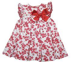 Vestido infantil de verano para niña en piqué blanco con estampado de cerezas en rojo.