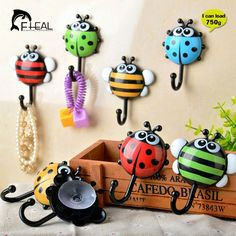 FHEAL 2pcs Creative Ladybug/Bee Cartoon Bathroom Wall Hooks Kitchen/Bedroom Sucker Free   Nail Hook Wall Decorative Hooks