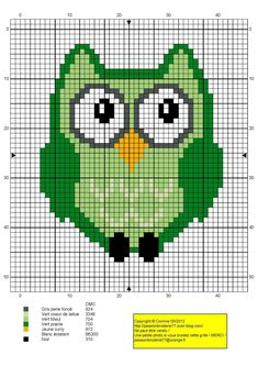 Green owl pattern by passionbrode77.