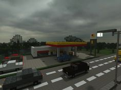 Minecraft road and gas station