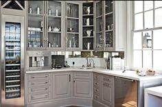 Grey. Silver. Glass. Kitchen.