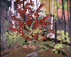 Tom Thompson: Red Sumac Group Of Seven Artists, Group Of Seven Paintings, Canadian Painters, Canadian Artists, Abstract Landscape, Landscape Paintings, Landscapes, Tom Thomson Paintings, Watercolor Trees