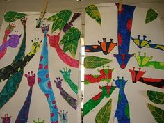 Second graders loved making these fanciful giraffes! We talked about drawing simple shapes for the head and face and adding a long neck poking into the page. We practiced printmaking to make the leaves surrounding our colorful giraffes!
