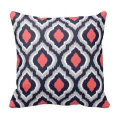Gray Coral and Navy Ikat Moroccan Monogram Pillow