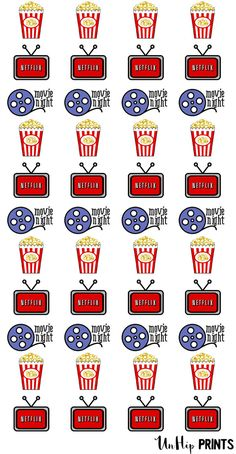 Movie Night Stickers Date Night Stickers Netflix by UnHipPrints