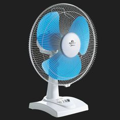 Bajaj Table Fan In White Color With Blue Blades