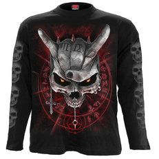 If it's too loud, then you're too old. Blast the heaviest of metal through your cranium as the speakers shake with the frequency. Audio terroriser, we salute you! Longsleeve T-Shirt Black is made of Top Quality Cotton, Jersey using skin frien. Tribal Outfit, Longsleeve, Graphic Sweatshirt, T Shirt, Punk Rock, Studs, Cool Designs, Long Sleeve Shirts, Never