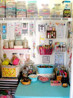 craft organization - One day my craft room will look like this! Craft Closet Organization, Craft Room Storage, Craft Rooms, Organization Ideas, Bin Storage, Storage Shelving, Storage Containers, Open Shelving, Storage Ideas