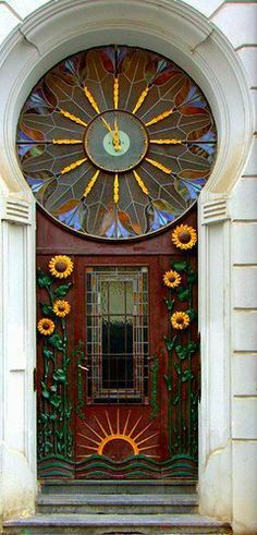 I have always loved Art Nouveau and to see its influence on a city was awsome and inspiring. Art Nouveau is everywhere in Prague – doors and doorways, decorative trim on buildings, the struct… Cool Doors, Unique Doors, The Doors, Windows And Doors, Front Doors, Grand Entrance, Entrance Doors, Doorway, Entrance Ideas