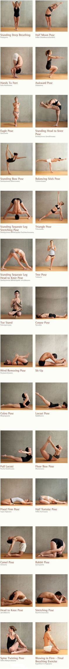 Bikram The best yoga poses filmstrip. Here are 26 different yoga poses and 2 breathing excercises to work out your body inside out. Stimulate your organs, glands and nerves. Increse the oxidization through your whole body. Vinyasa Yoga, Ashtanga Yoga, Bikram Yoga Poses, Hard Yoga Poses, Difficult Yoga Poses, Kundalini Yoga, Yin Yoga, Yoga Meditation, Meditation Space