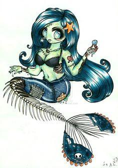 zombie mermaid tattoos - Good for a Blood Pudding design? Tatoo Art, Tattoo Drawings, Body Art Tattoos, Art Drawings, Sirene Tattoo, Zombie Girl, 3d Fantasy, Mermaid Tattoos, Arte Horror