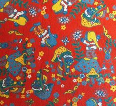 1m Vtg 50s Garden Gnome & Toadstool Dressmaking Clothing Cotton Fabric Material | eBay