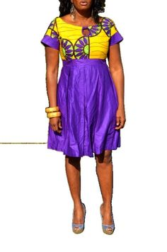 Yellow and Purple African Ankaka Print Dress by ZabbaDesigns, $80.00