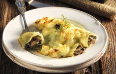 Κανελόνια με μανιτάρια και κατσικίσιο τυρί