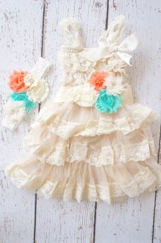 Flower Girl Dress  Lace Flower girl dress Baby by PoshPeanutKids, $74.99 im for getting this for madilyn for our wedding except for a dark brown bow instead of the orange one Country Wedding Flower Girl, Flower Girl Dresses Country, Baby Flower Girl Dresses, Country Rustic Wedding Dress, Flower Girl Dress Country, Orange Flower Girl Dresses, Country Flower Girl Dress, Flower Girl Dress Mint Coral, Lace Flower