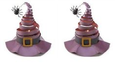 Set of 2 Witch Hat Candle Holders - Spider - Halloween Decor