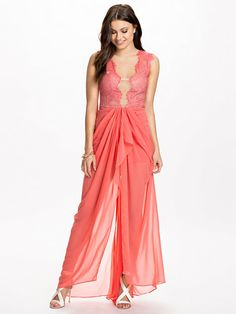 Lace Top Sheer Insert Maxi Dress - Ginger Fizz - Coral - Party Dresses - Clothing - Women - Nelly.com Uk