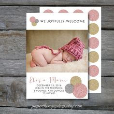 Birth Announcement Silver Gold & Pink Glitter