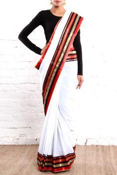 White Sari by Closet Rani Pink Indian Bollywood, Bollywood Fashion, Indian Sarees, India Fashion, Asian Fashion, Indian Style, Indian Wear, Indian Dresses, Indian Outfits