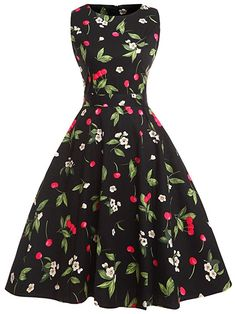 bb263738be2 FAIRY COUPLE 50s Vintage Retro Floral Cocktail Swing Party Dress with Bow  DRT017(XL