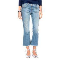 Light Denim Cropped Flip Flop Jeans