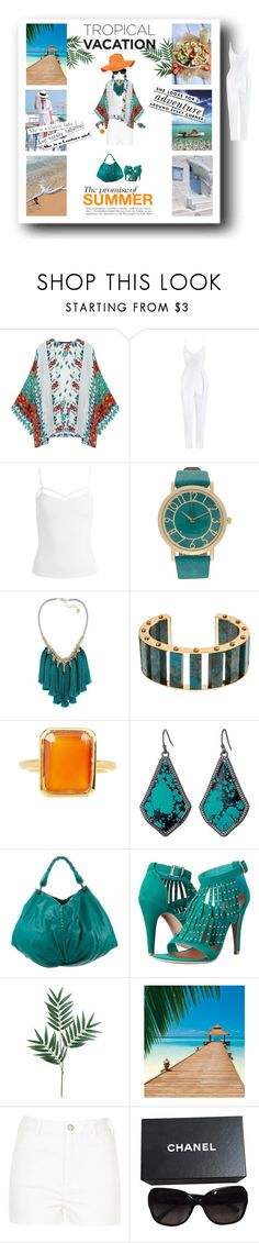 """""""Tropical Dreams 2"""" by quicherz on Polyvore featuring Zimmermann, Sans Souci, French Connection, Lele Sadoughi, Savvy Cie, Kendra Scott, Bottega Veneta, Penny Loves Kenny, Le Specs and River Island"""