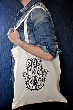 Cotton Tote Bag Handpainted Hamsa Design