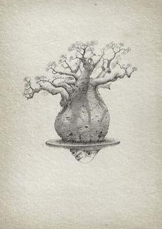 Baobab, an art print by Aleks Klepnev Pencil Drawings, Art Drawings, Bonsai Tree Tattoos, Baobab Tree, Baobab Oil, Tree Sketches, Bonsai Art, Africa Art, Tree Illustration