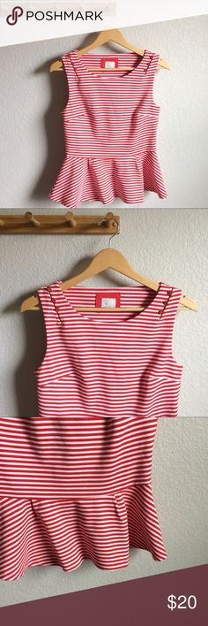 "[Anthropologie] Striped Peplum Tank Condition➝gently worn, very slight color bleeding at the armpits and a small imperfection in the fabric (last 2 pics) Material➝82% polyester, 17% rayon, 1% spandex Length➝23"" Bust flat➝16"" Postmark for Anthropologie Anthropologie Tops Tank Tops"