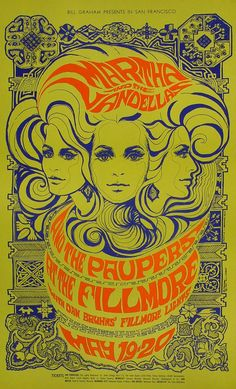 Martha & the Vandellas Poster - Rock posters, concert posters, and vintage posters from the Fillmore, Fillmore East, Winterland, Grande Ballroom, Armadillo World Headquarters, The Ark, The Bank, Kaleidoscope Club, Shrine Auditorium and Avalon Ballroom.