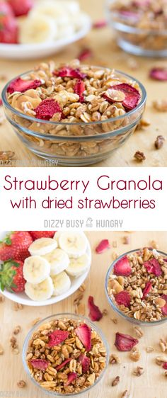 Strawberry Granola with Dried @Flastrawberries #SundaySupper #FLStrawberry http://www.dizzybusyandhungry.com/strawberry-granola/