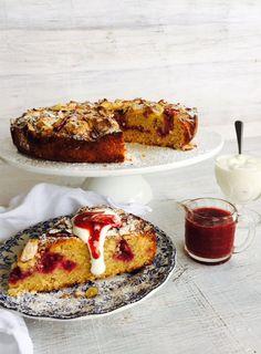 Raspberry, rhubarb & white chocolate cake (gluten-free)
