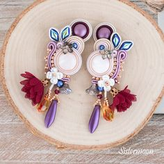 If you need a color, color. Wedding Earrings, Wedding Jewelry, Jewelry Box, Hermes, Soutache Earrings, Swarovski Pearls, Boho, Organza Bags, Natural Leather