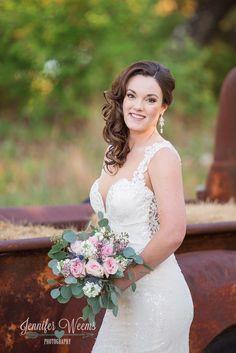 Vista West Ranch Bridal Photo by Jennifer Weems Photography, Old car, vintage, wedding dress, wedding venue, bridal bouquet, Austin Wedding Photographer, Hill Country wedding, bride
