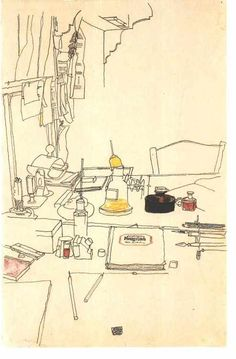 workman:    iamjapanese:  Egon Schiele(Austrian, 1890-1918)  Desktop in the prisoner of war camp in Mühling   1916