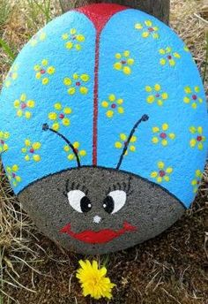 Rock Hand Painted Blue Bug with Yellow Flowers by KathiJanes, $14.95
