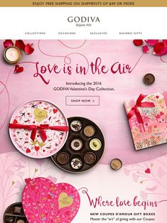 IT'S HERE! Our NEW Valentine's Day Collection - Godiva Valentines Design, Valentines Day, Menu Design, Flyer Design, Valentine Background, Email Design Inspiration, Custom Chocolate, Promotional Design, Business Gifts