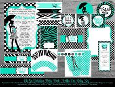 Polka Zebra Baby Boy Shower - Printable Party Pack - Digital Printable Files. $50.00, via Etsy.